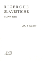 Ricerche Slavistiche. Nuova serie Vol. 5 (LI) 2007